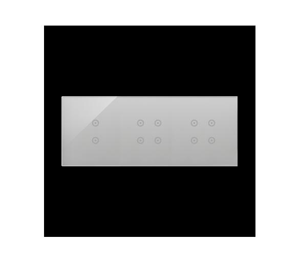 Panel dotykowy 3 moduły 2 pola dotykowe pionowe, 4 pola dotykowe, 4 pola dotykowe, srebrna mgła DSTR3344/71