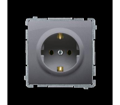 Gniazdo wtyczkowe pojedyncze z uziemieniem typu Schuko srebrny mat, metalizowany 16A BMGSZ1.01/43