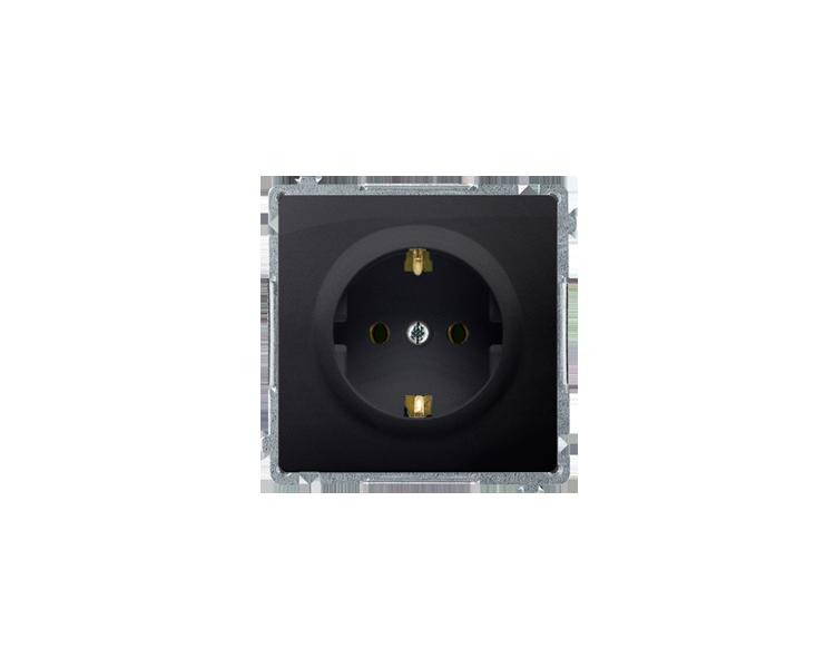 Gniazdo wtyczkowe pojedyncze z uziemieniem typu Schuko z przesłonami torów prądowych grafit mat, metalizowany 16A BMGSZ1Z.01/28