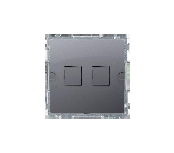 Pokrywa gniazd teleinformatycznych na Keystone płaska podwójna srebrny mat, metalizowany BMPT/43
