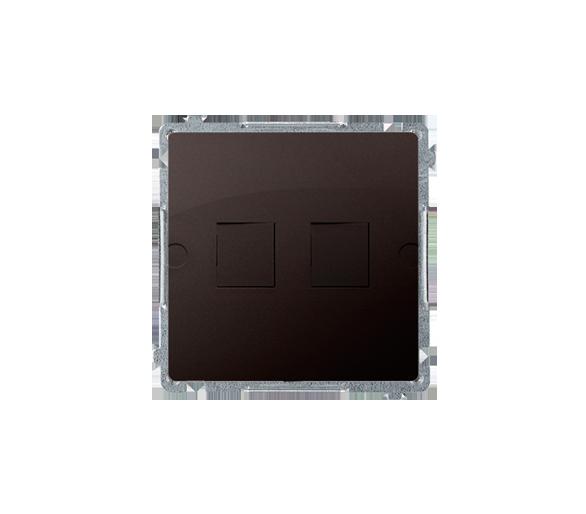 Pokrywa gniazd teleinformatycznych na Keystone płaska podwójna czekoladowy mat, metalizowany BMPT/47