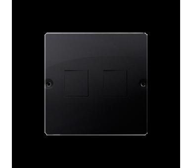 Pokrywa gniazd teleinformatycznych na Keystone płaska podwójna grafit mat, metalizowany BMGK1P/28