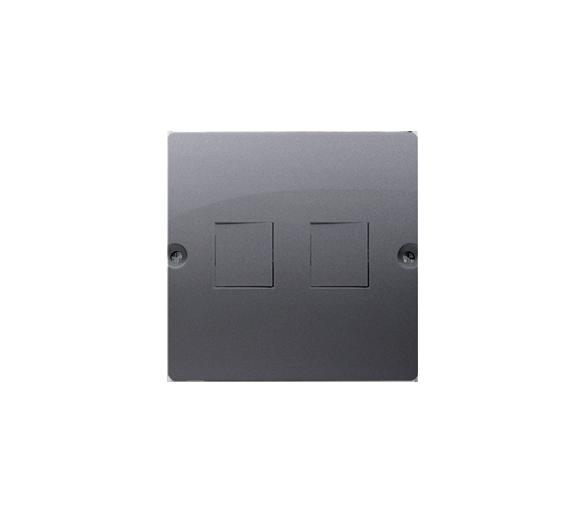Pokrywa gniazd teleinformatycznych na Keystone płaska podwójna srebrny mat, metalizowany BMGK1P/43