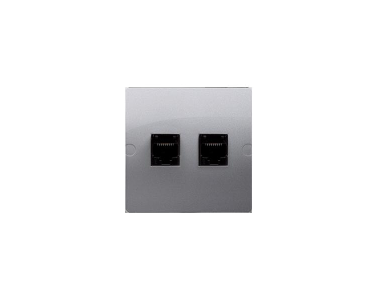 Gniazdo komputerowe podwójne RJ45 kategoria 5e (moduł) srebrny mat, metalizowany BMF52.02/43