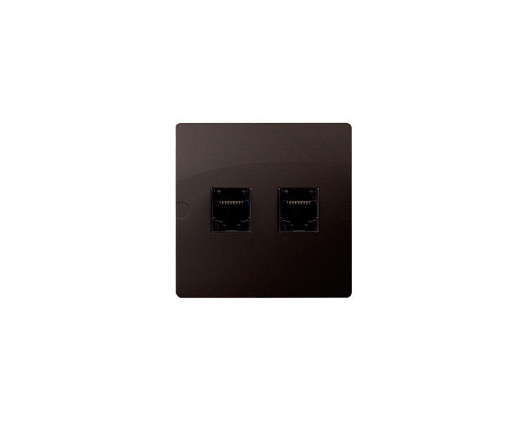 Gniazdo telefoniczne podwójne RJ12 (moduł) czekoladowy mat, metalizowany BMT2.02/47