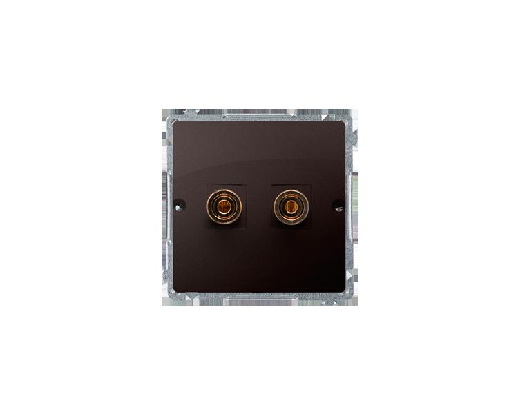 Gniazdo głośnikowe pojedyncze czekoladowy mat, metalizowany BMGL2.02/47