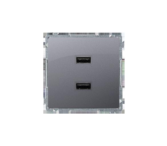 Ładowarka USB podwójna srebrny mat, metalizowany BMC2USB.01/43