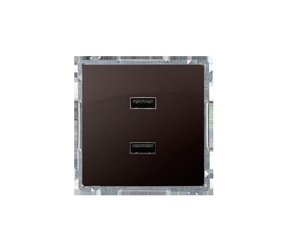 Ładowarka USB podwójna czekoladowy mat, metalizowany BMC2USB.01/47