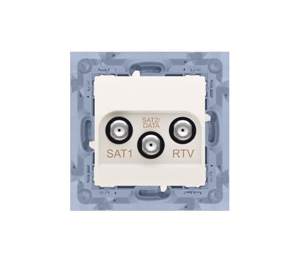 Gniazdo antenowe SAT-SAT-RTV satelitarne podwójne tłum.:1dB kremowy CASK2F.01/41