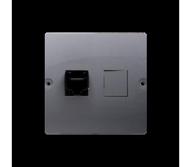 Gniazdo komputerowe pojedyncze RJ45 kategoria 5e (moduł) srebrny mat, metalizowany BMF51.02/43