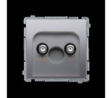 Gniazdo antenowe TV-DATA tłum.:5dB srebrny mat, metalizowany BMAD1.01/43