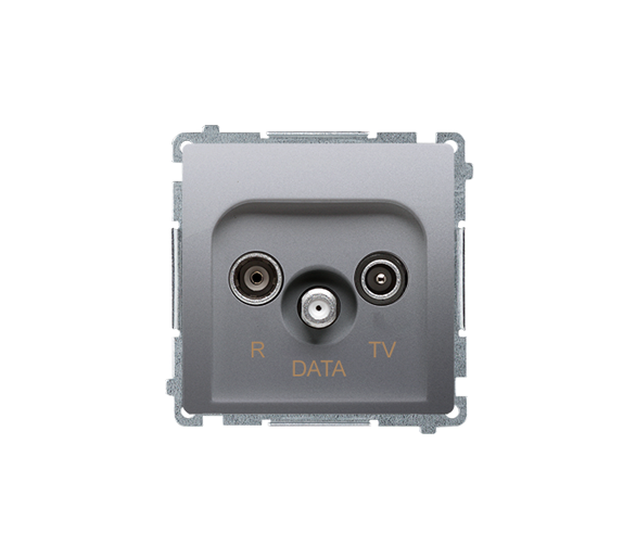 Gniazdo antenowe R-TV-DATA tłum.:10dB srebrny mat, metalizowany BMAD.01/43