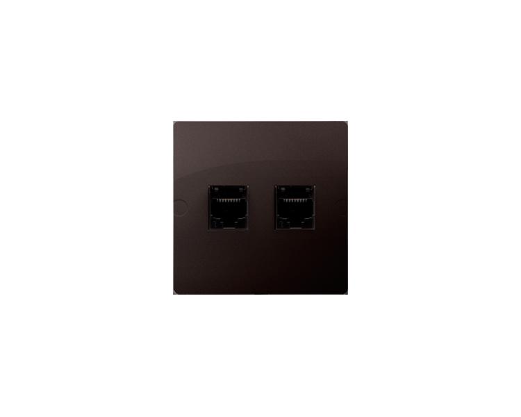 Gniazdo komputerowe RJ45 kategoria 5e + telefoniczne RJ11 (moduł) czekoladowy mat, metalizowany BMF5T.02/47