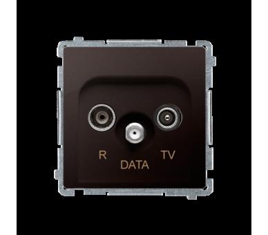 Gniazdo antenowe R-TV-DATA tłum.:10dB czekoladowy mat, metalizowany BMAD.01/47
