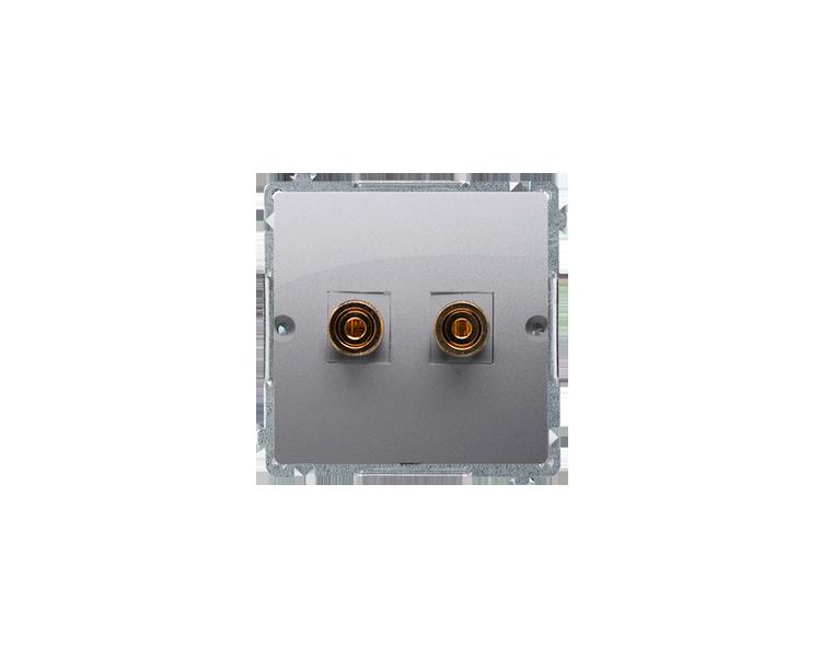 Gniazdo głośnikowe pojedyncze srebrny mat, metalizowany BMGL2.02/43