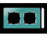 Ramka 2-krotna, Detail ORIGINAL-imagine, AKWAMARYN kropki / podstawa Biała 8200620-212