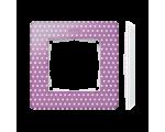 Ramka 1- krotna Detail ORIGINAL-imagine, RÓŻOWA PASTEL kropki / podstawa Biała 8200610-213
