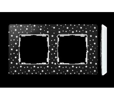 Ramka 2-krotna, Detail ORIGINAL-imagine, CZARNA gwiazdki / podstawa Biała 8200620-222