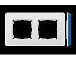Ramka 2-krotna, Detail ORIGINAL-color, BIAŁA / podstawa Indygo 8200620-201