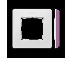 Ramka 1- krotna Detail ORIGINAL-color, BIAŁA / podstawa Różowa 8200610-203