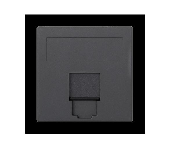 Plakietka teleinformatyczna SIMON 500 INFRA+ pojedyncza płaska z osłoną 50×50mm szary grafit 50015085-038