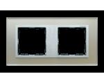 Ramka 2- krotna szklana srebro / aluminium 82927-62