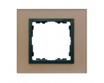 Ramka 1-krotna szklana miedź / grafit 82817-34