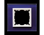 Ramka 1-krotna szklana morski / biała 82617-64