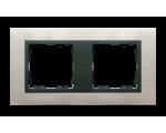 Ramka 2- krotna stal inox / grafit 82827-37