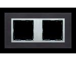 Ramka 2- krotna metalowa inox czarny / aluminium 82927-38