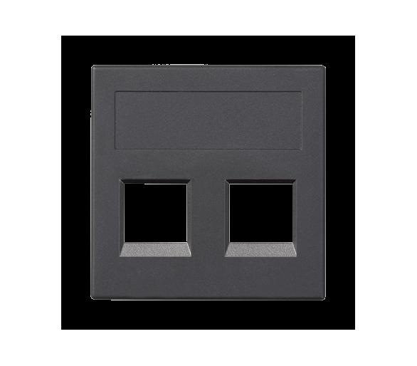 Plakietka teleinformatyczna SIMON 500 INFRA+ podwójna bez osłon płaska 50×50mm szary grafit 50015189-038