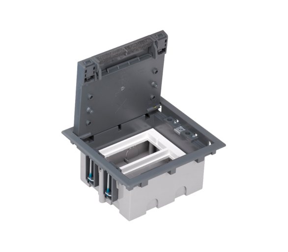 Puszka podłogowa SF prostokątna 4×K45 2×S500 93mm÷128mm szary 52050102-035