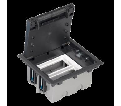 Puszka podłogowa SF prostokątna 4×K45 2×S500 93mm÷128mm szary grafit 52050102-038