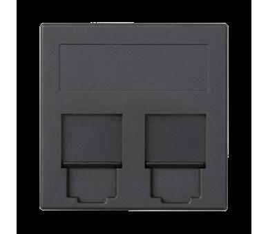 Plakietka teleinformatyczna SIMON 500 keystone podwójna płaska uniwersalna z osłonami 50×50mm szary grafit 50000089-038