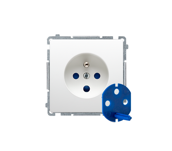 Gniazdo wtyczkowe pojedyncze DATA z kluczem uprawniającym 16A biały MGD1.01/11