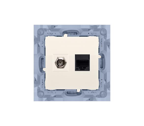 """Gniazdo antenowe typu """"F"""" + komputerowe RJ45 kat.5e kremowy CASFRJ455.01/41"""