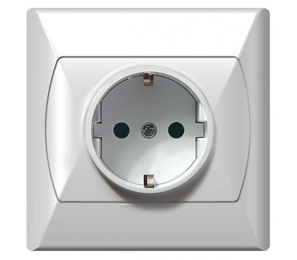 Gniazdo pojedyncze z uziemieniem schuko z przesłonami torów prądowych biały Akcent GP-1ASP/00