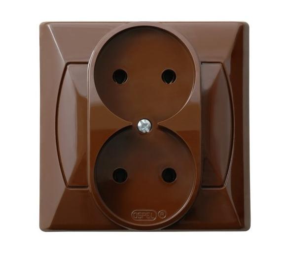 Gniazdo podwójne brązowy Akcent GP-2A/24