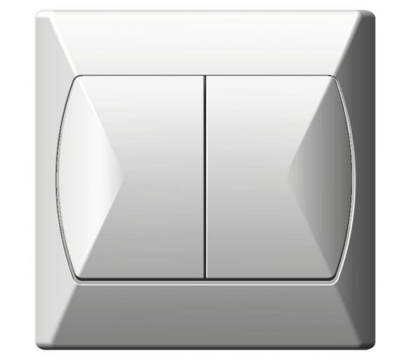 Łącznik dwugrupowy świecznikowy biały Akcent ŁP-2A/00