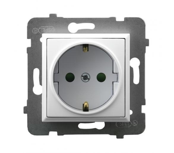Gniazdo pojedyncze z uziemieniem schuko z przesłonami torów prądowych biały Aria GP-1USP/m/00