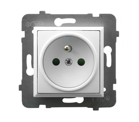 Gniazdo pojedyncze z uziemieniem z przesłonami torów prądowych biały Aria GP-1UZP/m/00