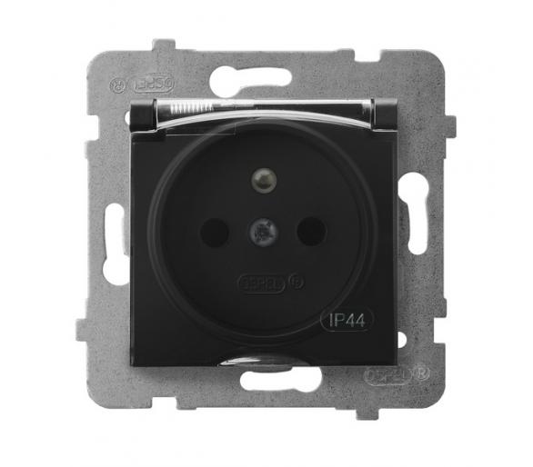 Gniazdo bryzgoszczelne z uziemieniem IP-44 wieczko przezroczyste czarny metalik Aria GPH-1UZ/m/33/d