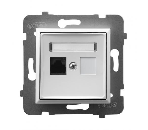 Gniazdo komputerowe pojedyncze, kat. 5e MMC biały Aria GPK-1U/K/m/00