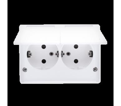 Gniazdo wtyczkowe podwójne z uziemieniem typu Schuko z przesłonami torów prądowych - w wersji IP44 - wersja skandynawska (komple