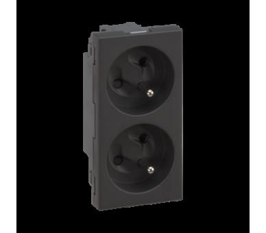 Gniazdo podwójne SIMON 500 z bolcem uziemiającym 16A 250V szybkozłącza/zaciski śrubowe 100×50mm szary grafit 50000458-038