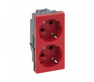 Gniazdo podwójne SIMON 500 SCHUKO 16A 250V szybkozłącza/nożowe 100×50mm czerwony 50000432-037 50000432-037