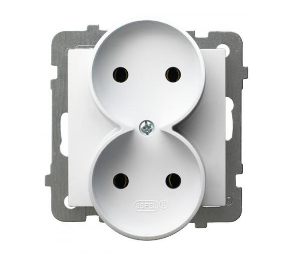 Gniazdo podwójne moduł bez ramki biały As GP-2GR/m/00