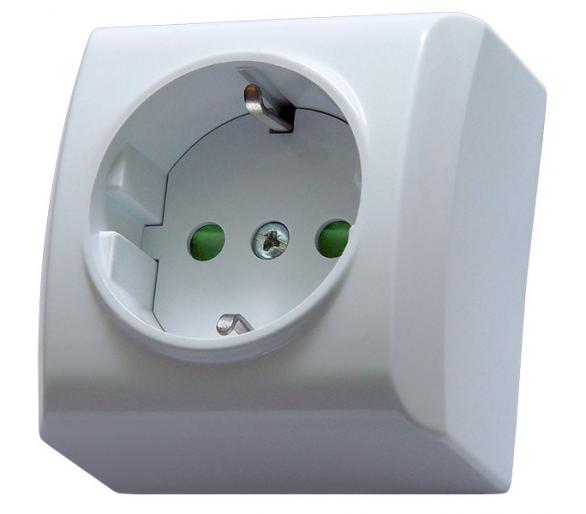 Gniazdo pojedyncze z uziemieniem schuko z przesłonami torów prądowych biały Bis GN-1BSP/00