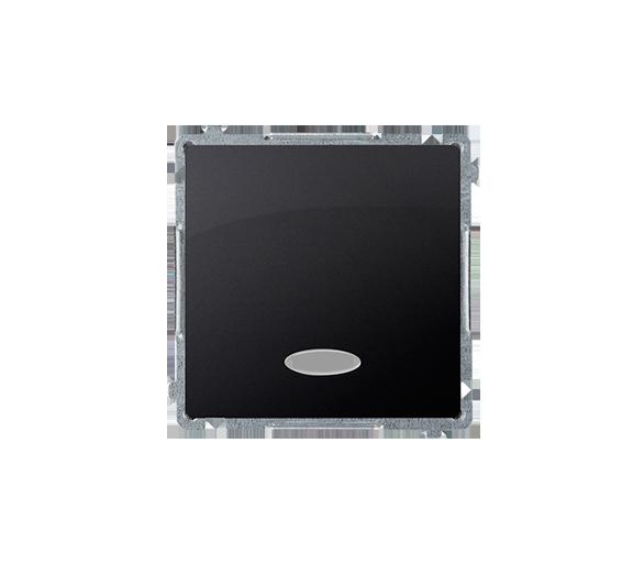 Łącznik jednobiegunowy z podświetleniem LED nie wymienialny kolor: niebieski (moduł) 10AX 250V, szybkozłącza, grafit mat, metali