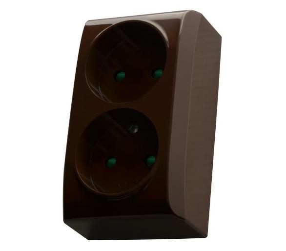 Gniazdo podwójne z przesłonami torów prądowych brązowy Bis GN-2BP/24